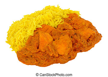 Chicken Tikka Masala Curry With yellow Pilau Rice isolated...