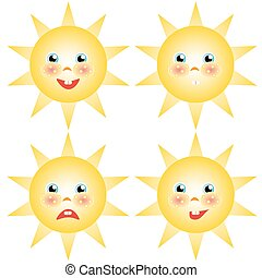 sun smilies set of drawings