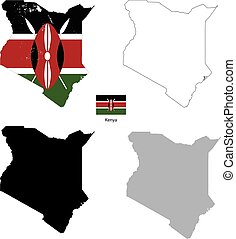Kenya country black silhouette and with flag on background,...