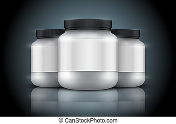 Mockup Background of Sport Nutrition Container. Whey Protein...
