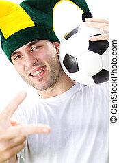 portrait of happy soccer fan