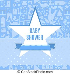 Baby shower card in blue and pink color