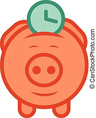 Piggy bank economize vector icon to - Flat design vector...