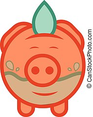 Piggy bank economize vector icon to saving water - Flat...
