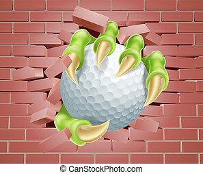 Claw with Golf Ball Breaking Through Brick Wall - An...