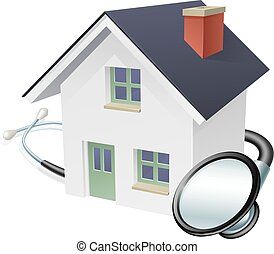 House and Stethoscope Concept - House and stethoscope...