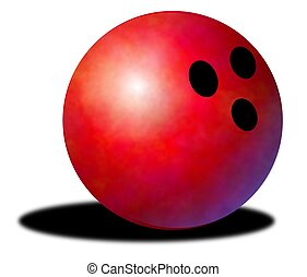 bowling ball - Illustration of a red bowling ball with drop...
