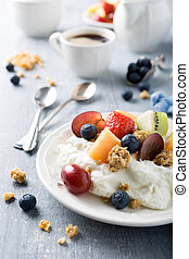 Quark with granola, fruits and berries - Healthy breakfast,...