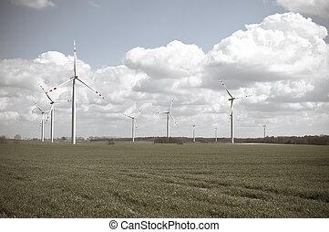 granja, turbinas, viento
