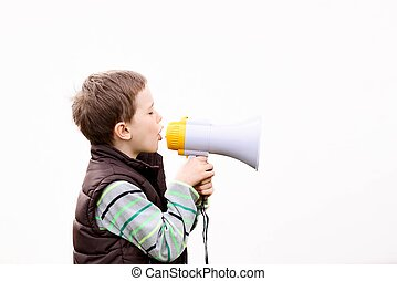 boy in the brown vest shouts into the megaphone