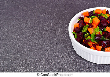 Salad of Cooked Beets and Carrots with Green Leek