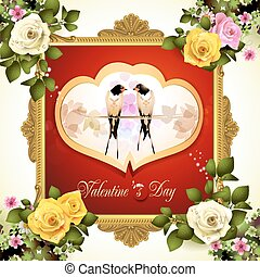 Valentine's day frame with swallows