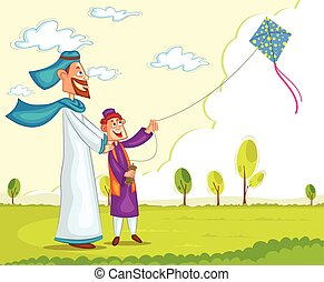 Muslim boy flying kite with parent in vector