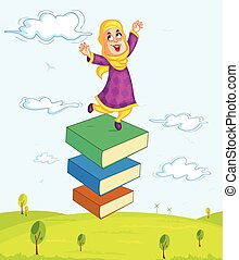 Muslim girl playing with book - Muslim girl children playing...