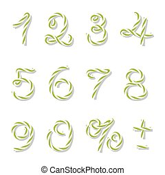 Bakers twine numbers - Numbers in yellow green bakers twine...
