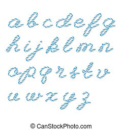 Bakers twine alphabet - Alphabet in blue bakers twine style...
