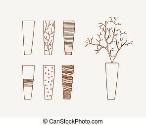 Doodle vases and flower design vector illustration