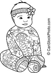 Baby girl coloring - Vector baby girl coloring