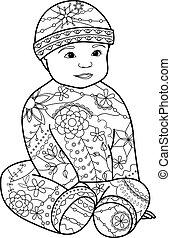 Baby boy coloring - Vector baby boy coloring