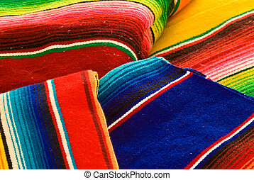 Colorful mexican blankets with vivid colors