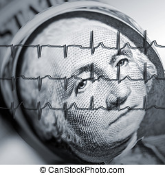 Healthy economy - American dollar note overlaid with ECG...