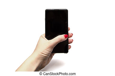 woman hand holding smart phone isolated