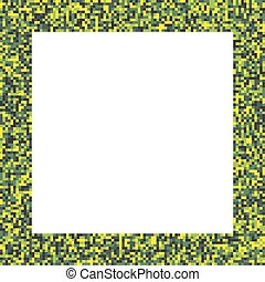 Pixel mosaic square border frame in acid - bright yellow and...