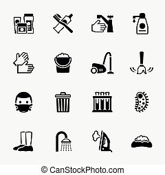 Sanitation and health vector flat icons set Bacteria...