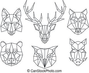Low poly animals heads Triangular thin line vector set - Low...