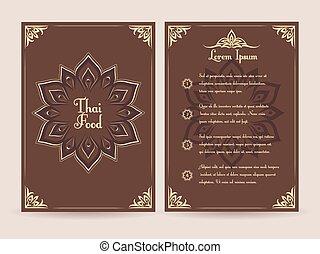 Thai food menu vector template