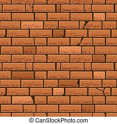 Red brick wall vector seamless background Block brick wall,...