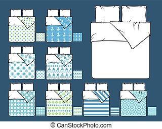 Bedding vector mockup and sample seamless patterns fills....