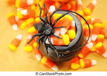 Black Spider on Pot of Candy Corn - Toy Black Spider on a...