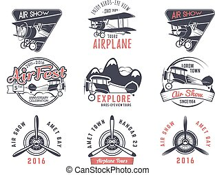 Vector old fly stamps Travel or business airplane tour...