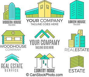 Set of vector house logo designs, real estate icon suitable...