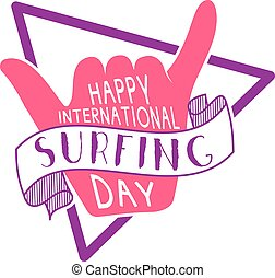 Summer surfing day tattoo design. Vector Vacation typography print emblem. Surfer party with surf symbol - shaka sign. Best for web design or print on t-shirt