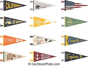 Set of adventure pennants. Pennant explore flags design....