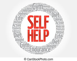 Self Help word cloud, health concept