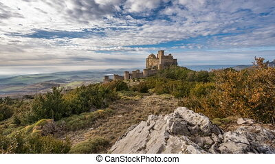 Sliding camera time lapse of Loarre Castle - Wide angle...