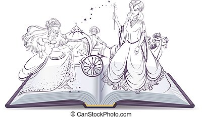 Tale of Cinderella Open book Illustration in vector format