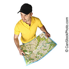 man with map isolated on white background