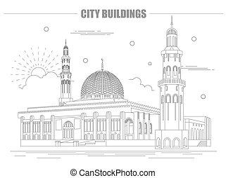 City buildings graphic template. Oman. Muscat mausoleum....