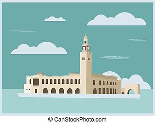 City buildings graphic template Kuwait Vector illustration
