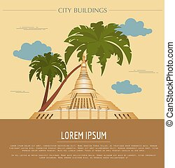 City buildings graphic template Naypyidaw Burma Vector...