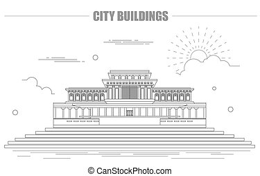 City buildings graphic template. North Korea. Mosque. Vector...