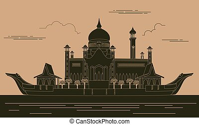 City buildings graphic template Sultan Omar mosque Brunei...