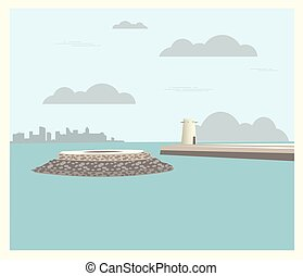 City buildings graphic template. Qatar. Fort Umm Salal Mohammed.