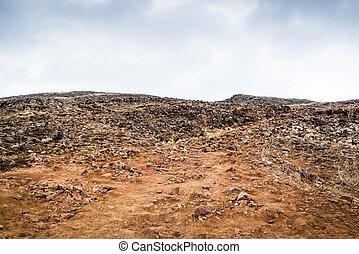 Rough landscape with many rocks in Iceland