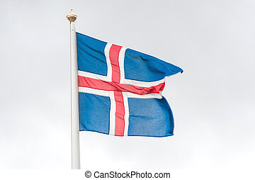 Iceland flag in the wind