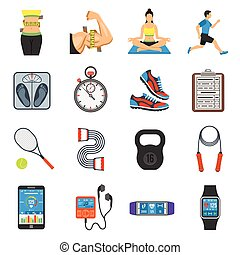 Fitness Icon Set - Fitness, Gym, Health Flat Icons Set for...